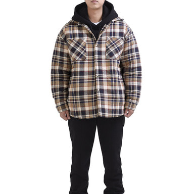 [RCNP] FLANNEL PADDED SHIRTS (BEIGE)