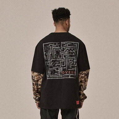 [OVERR] 18SS LAYERED BROWN CAMO TEE