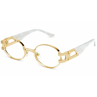 ST. JAMES MARBLE CROC & 24K GOLD CLEAR LENS GLASSES
