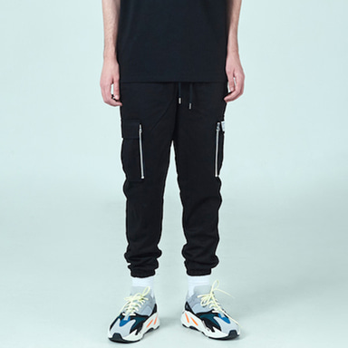 [DEADEND] BLACK CARGO ZIPPER JOG PANTS
