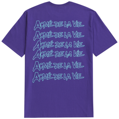 [ACME DE LAVIE] ADLV HANDWRITHING SHORT SLEEVE T-SHIRT PURPLE 펜글씨 반팔 퍼플
