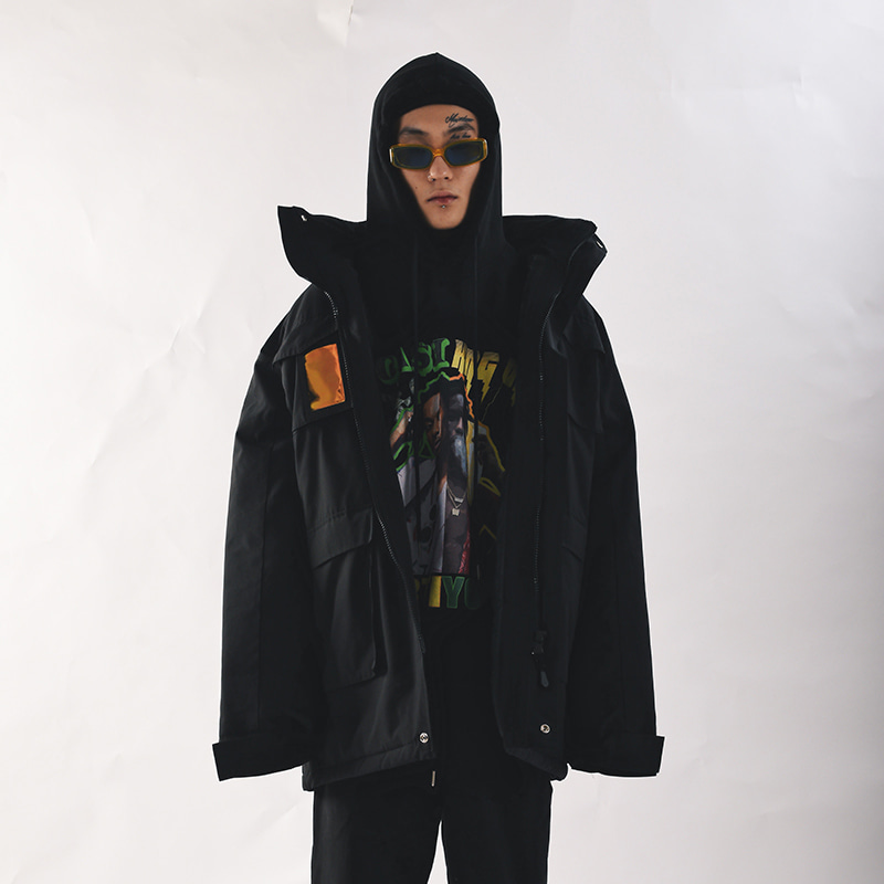 PVC SHELL PARKA (BLACK)