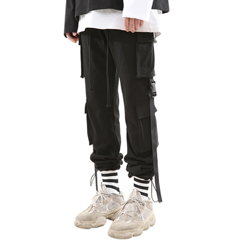 159 BUCKLE STRING JOGGER PANTS (BLACK)